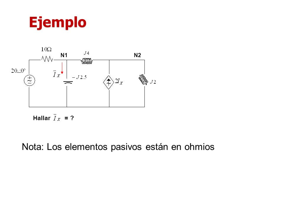 Ejemplo N1 N2 Hallar = Nota: Los elementos pasivos están en ohmios