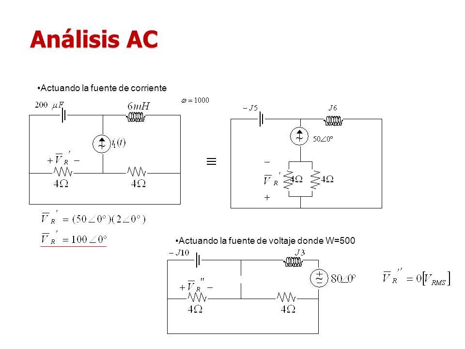 Análisis AC Actuando la fuente de corriente