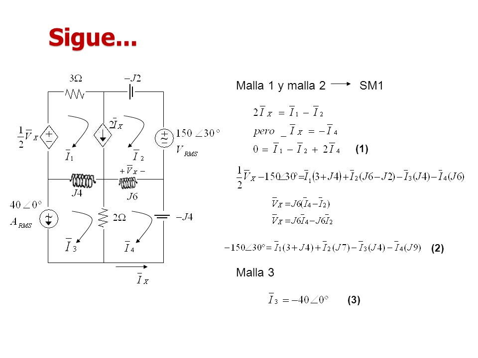 Sigue... Malla 1 y malla 2 SM1 (1) (2) Malla 3 (3)
