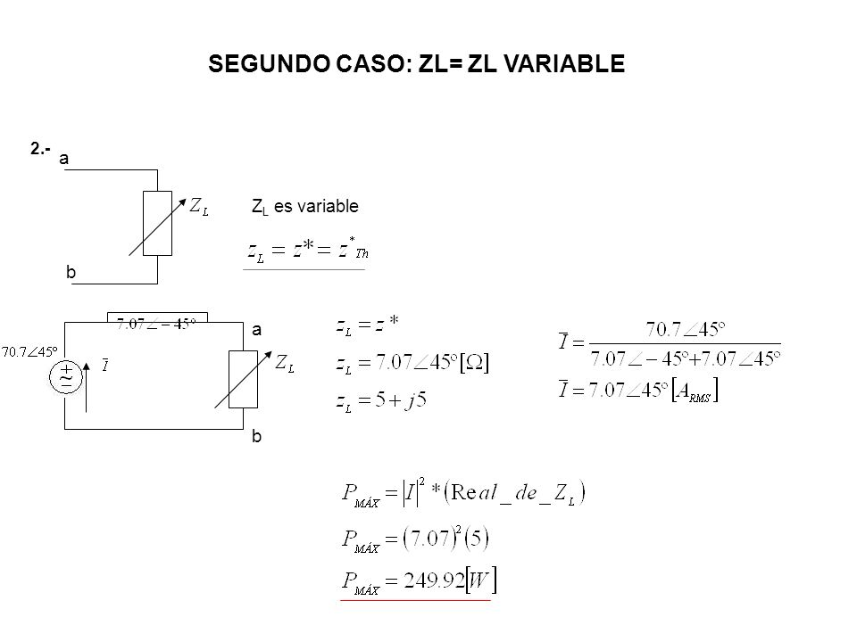 SEGUNDO CASO: ZL= ZL VARIABLE
