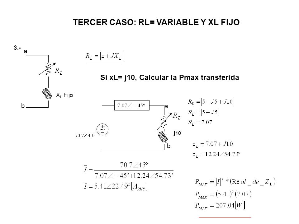 TERCER CASO: RL= VARIABLE Y XL FIJO