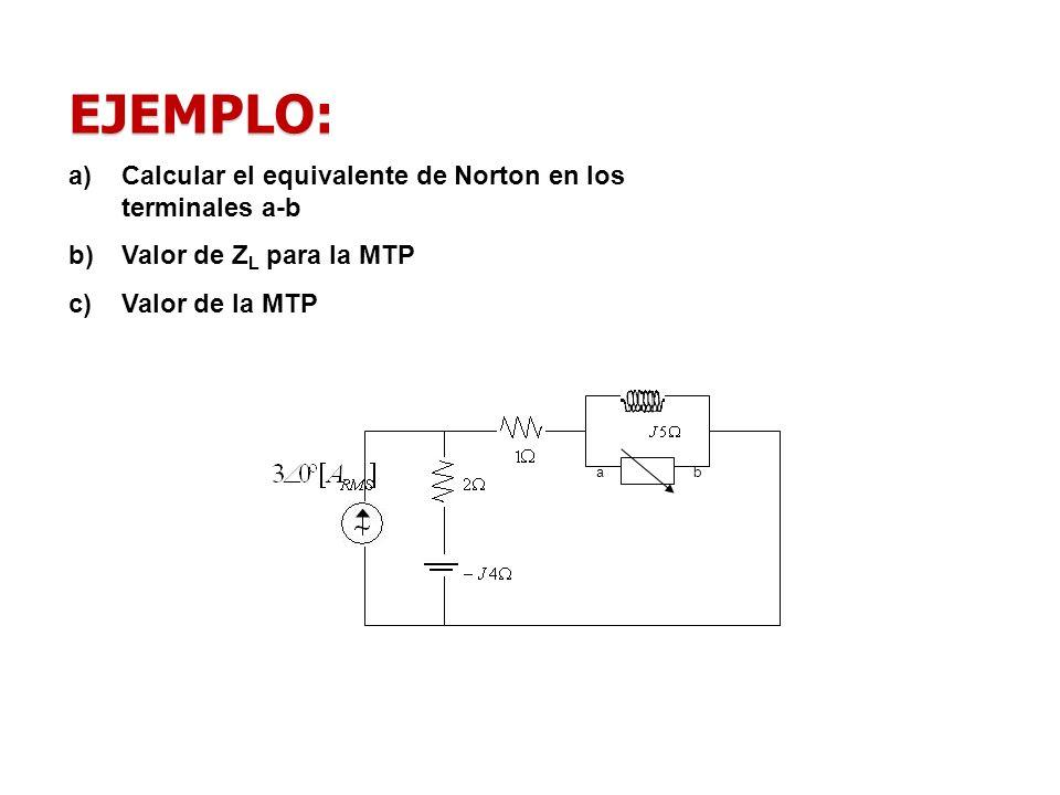 EJEMPLO: Calcular el equivalente de Norton en los terminales a-b
