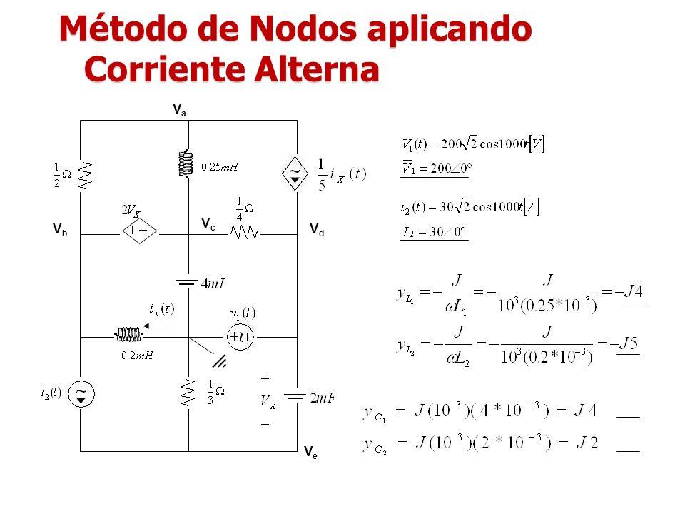 Método de Nodos aplicando Corriente Alterna