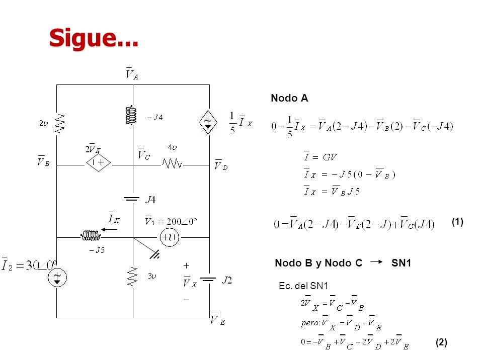 Sigue... Nodo A (1) Nodo B y Nodo C SN1 Ec. del SN1 (2)