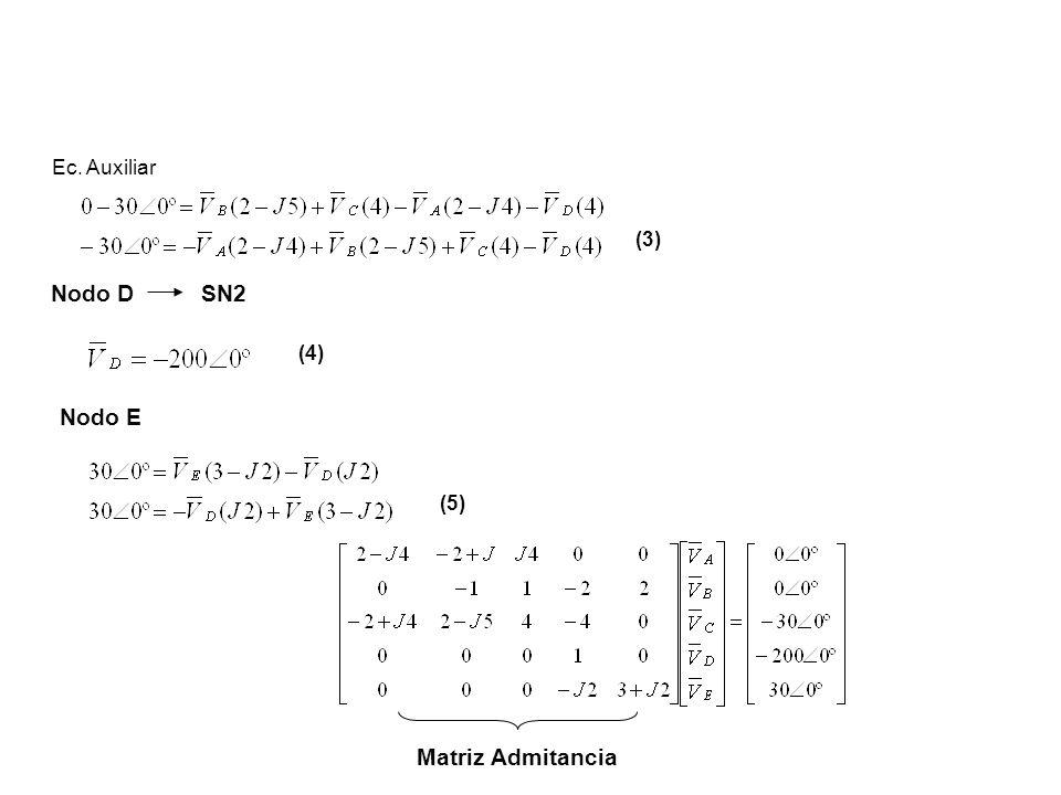 Ec. Auxiliar (3) Nodo D SN2 (4) Nodo E (5) Matriz Admitancia