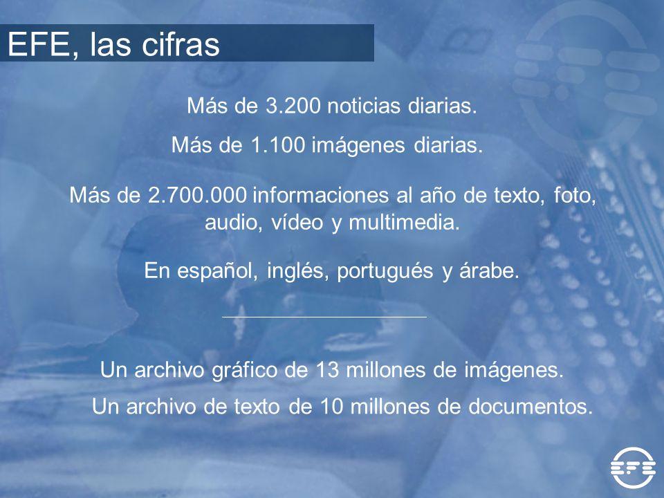 EFE, las cifras Más de 3.200 noticias diarias.