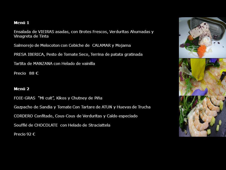 Menú 1 Ensalada de VIEIRAS asadas, con Brotes Frescos, Verduritas Ahumadas y Vinagreta de Tinta.