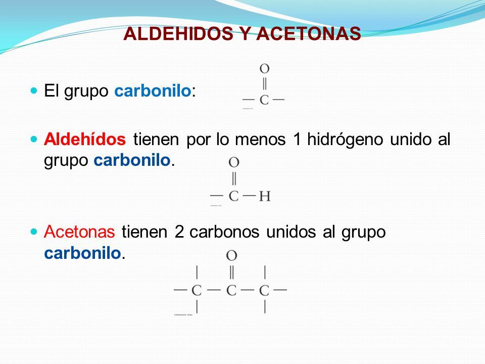 ALDEHIDOS Y ACETONAS El grupo carbonilo: