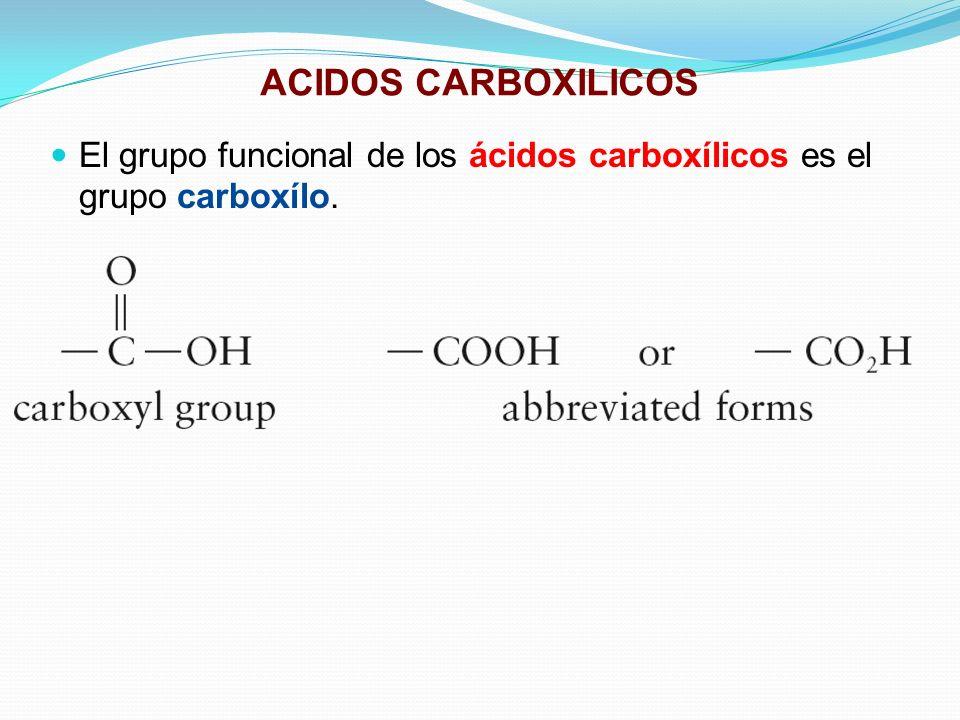 ACIDOS CARBOXILICOS El grupo funcional de los ácidos carboxílicos es el grupo carboxílo.