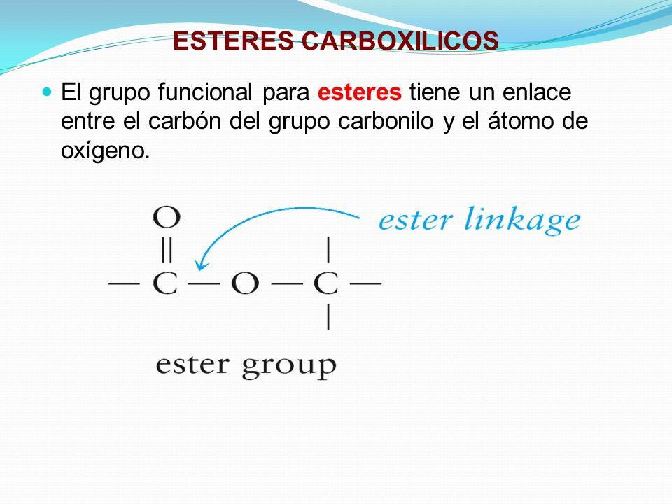ESTERES CARBOXILICOSEl grupo funcional para esteres tiene un enlace entre el carbón del grupo carbonilo y el átomo de oxígeno.