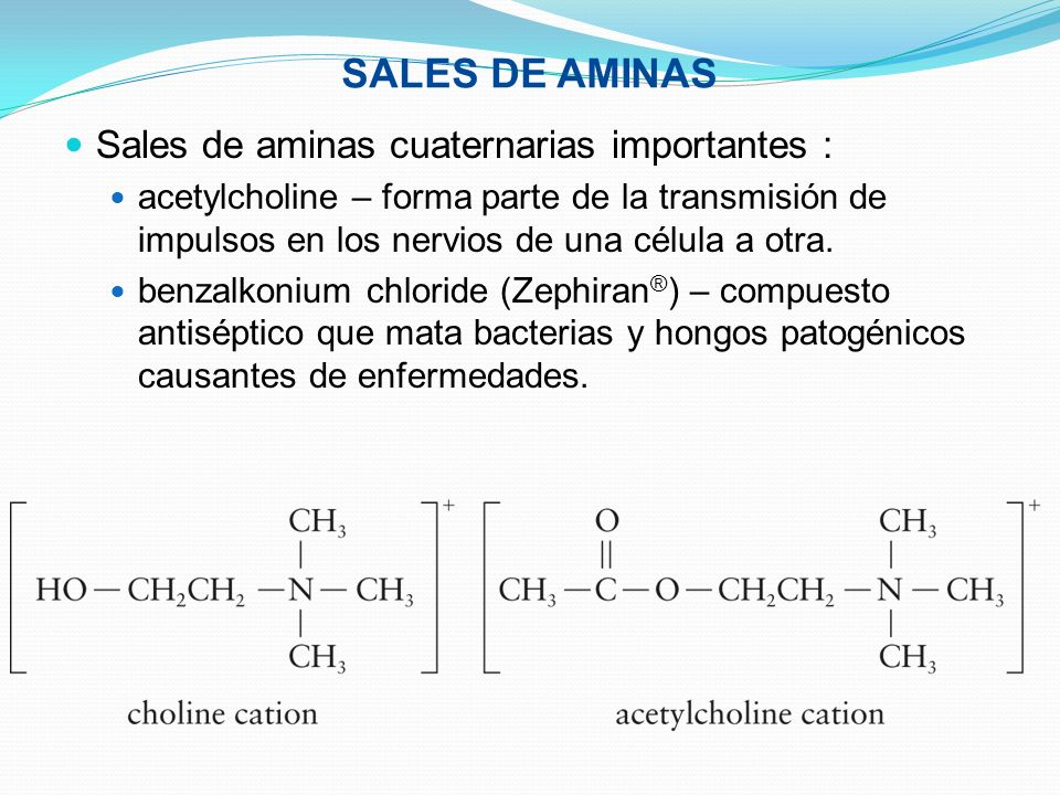 SALES DE AMINAS Sales de aminas cuaternarias importantes :