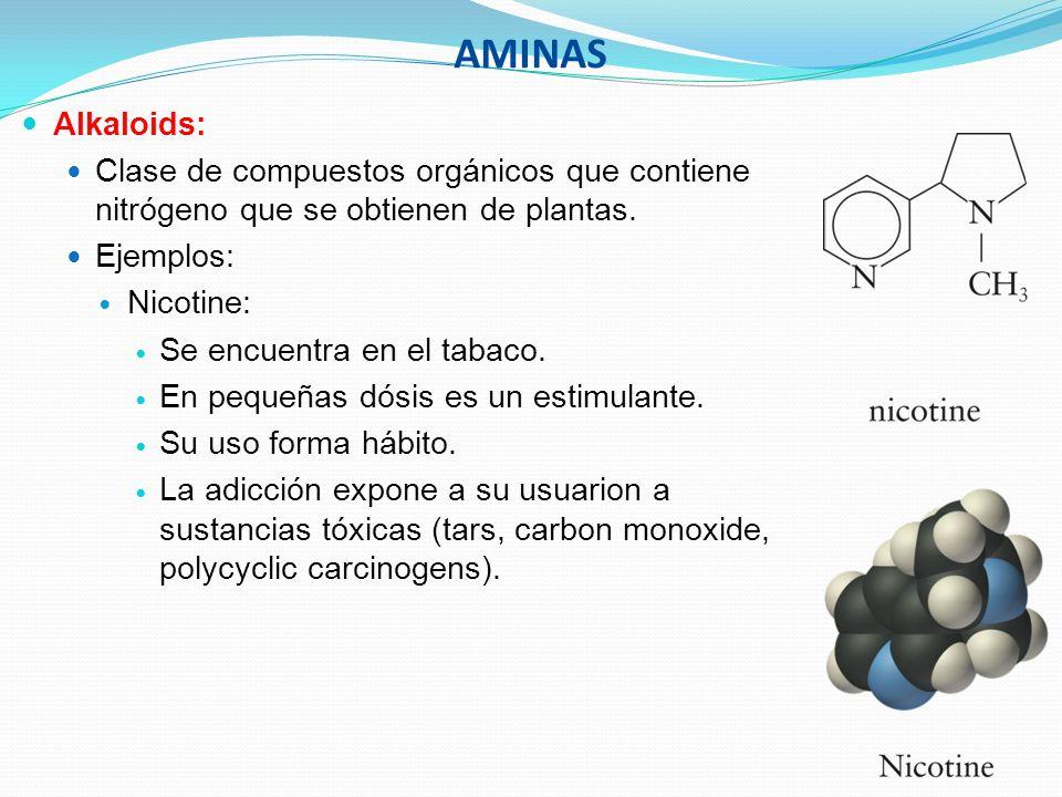 AMINASAlkaloids: Clase de compuestos orgánicos que contiene nitrógeno que se obtienen de plantas. Ejemplos:
