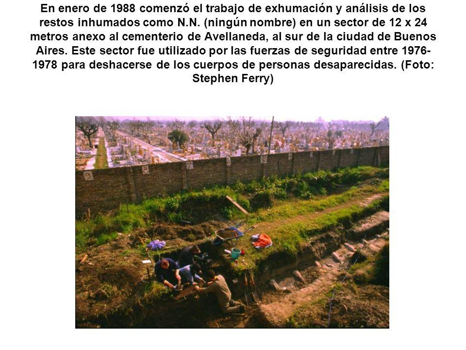 En enero de 1988 comenzó el trabajo de exhumación y análisis de los restos inhumados como N.N.