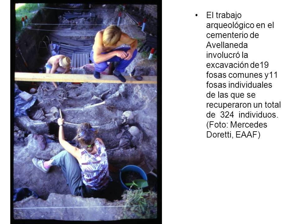 El trabajo arqueológico en el cementerio de Avellaneda involucró la excavación de19 fosas comunes y11 fosas individuales de las que se recuperaron un total de 324 individuos.