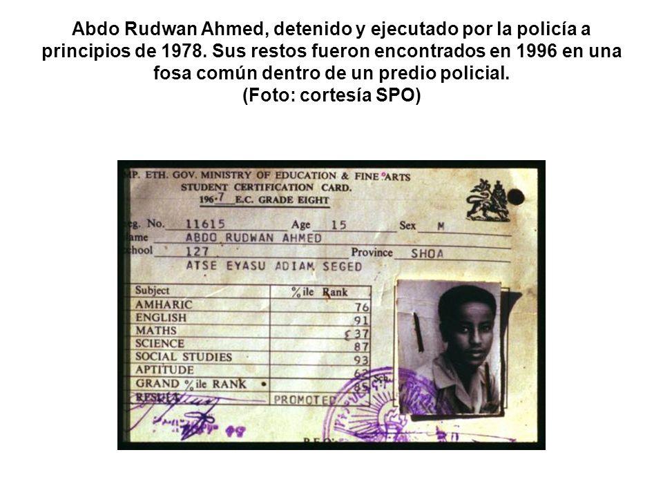 Abdo Rudwan Ahmed, detenido y ejecutado por la policía a principios de 1978.