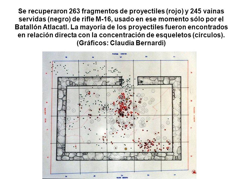 Se recuperaron 263 fragmentos de proyectiles (rojo) y 245 vainas servidas (negro) de rifle M-16, usado en ese momento sólo por el Batallón Atlacatl.
