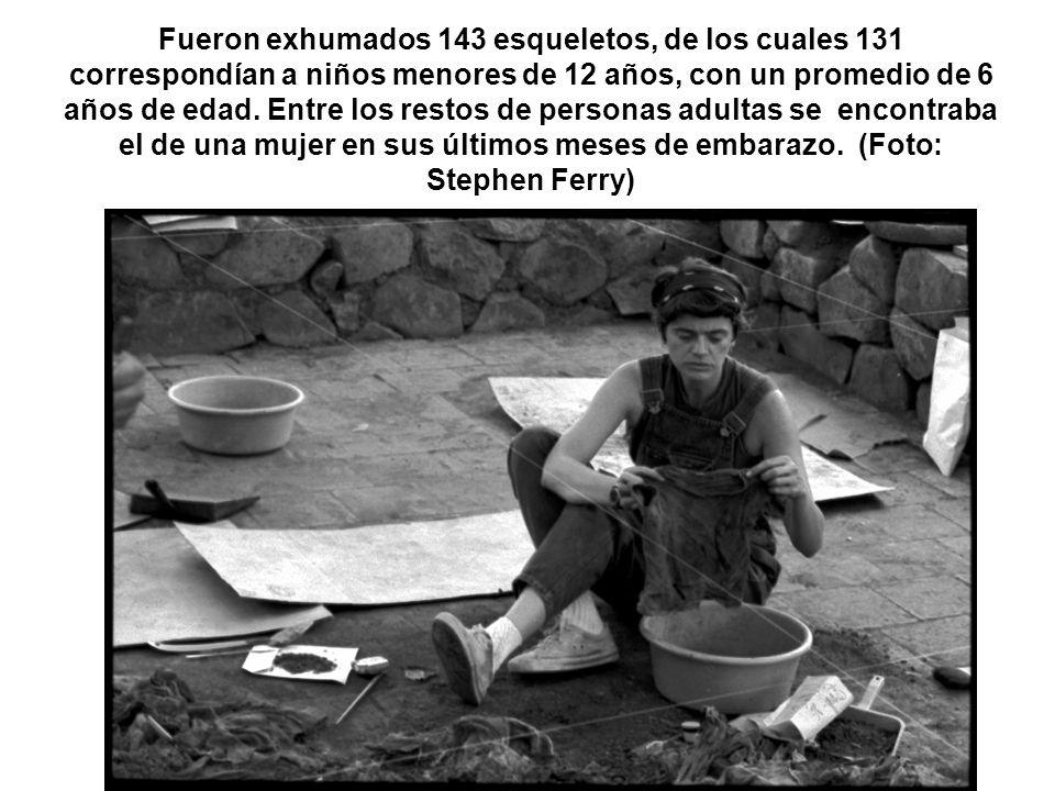 Fueron exhumados 143 esqueletos, de los cuales 131 correspondían a niños menores de 12 años, con un promedio de 6 años de edad.