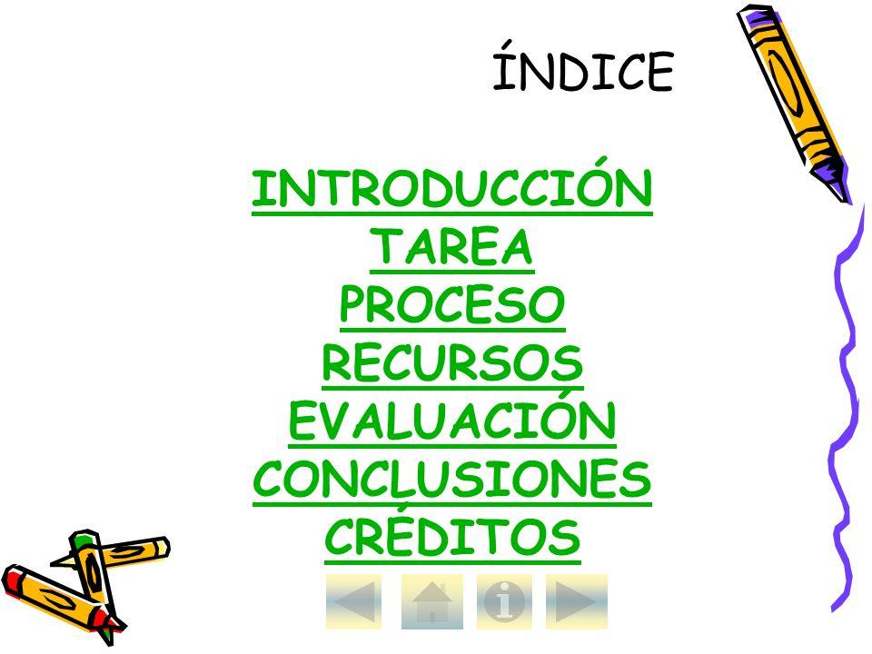 ÍNDICE INTRODUCCIÓN TAREA PROCESO RECURSOS EVALUACIÓN CONCLUSIONES CRÉDITOS
