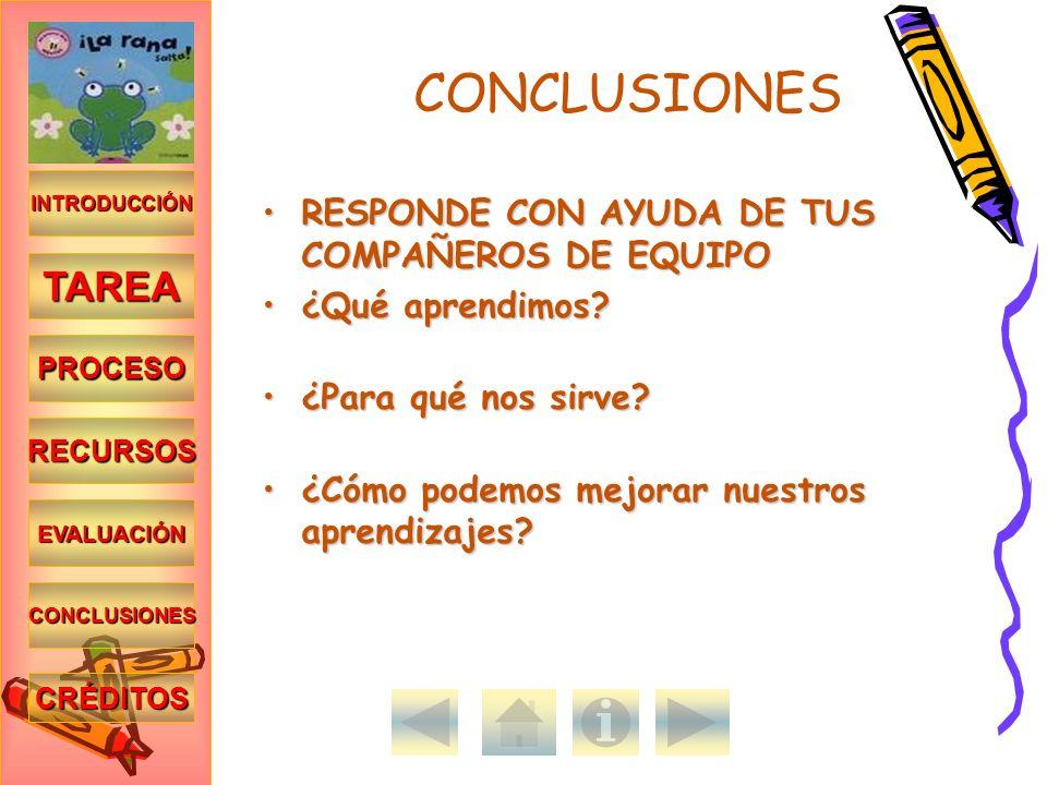 CONCLUSIONES TAREA RESPONDE CON AYUDA DE TUS COMPAÑEROS DE EQUIPO