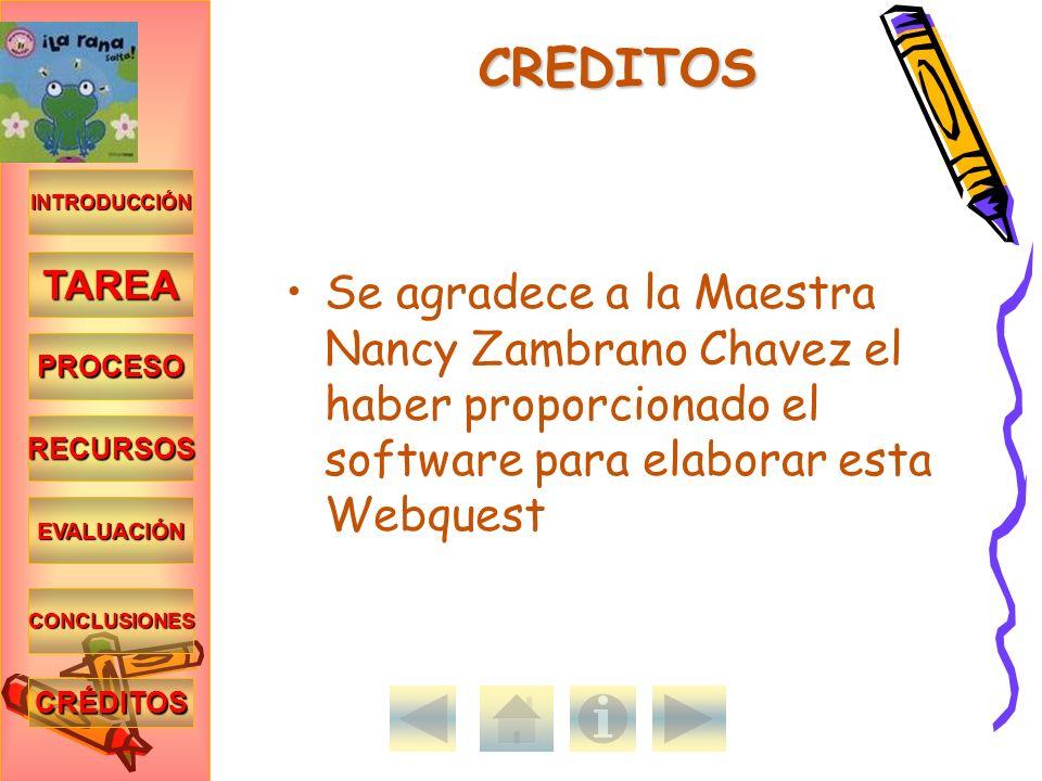 CREDITOSINTRODUCCIÓN. TAREA. Se agradece a la Maestra Nancy Zambrano Chavez el haber proporcionado el software para elaborar esta Webquest.