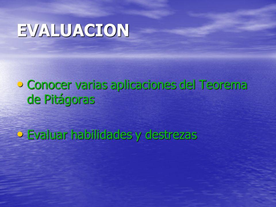 EVALUACION Conocer varias aplicaciones del Teorema de Pitágoras