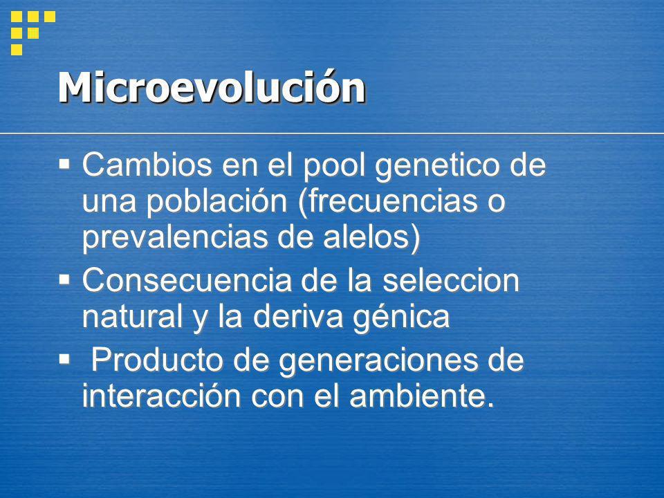 Microevolución Cambios en el pool genetico de una población (frecuencias o prevalencias de alelos)