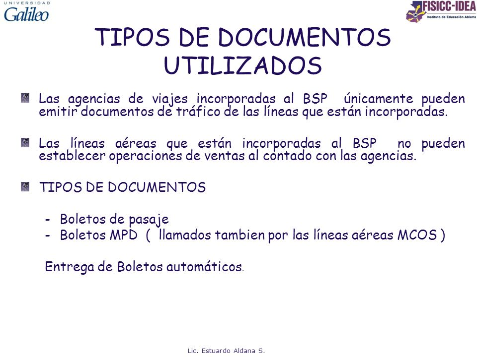 TIPOS DE DOCUMENTOS UTILIZADOS