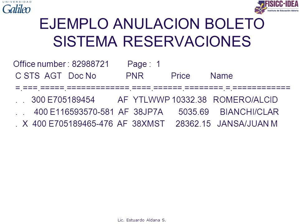 EJEMPLO ANULACION BOLETO SISTEMA RESERVACIONES