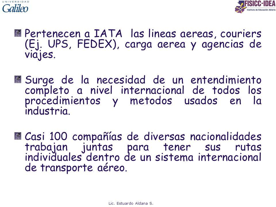 Pertenecen a IATA las lineas aereas, couriers (Ej