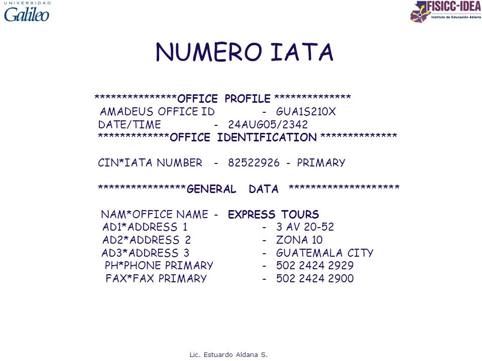 NUMERO IATA ***************OFFICE PROFILE **************