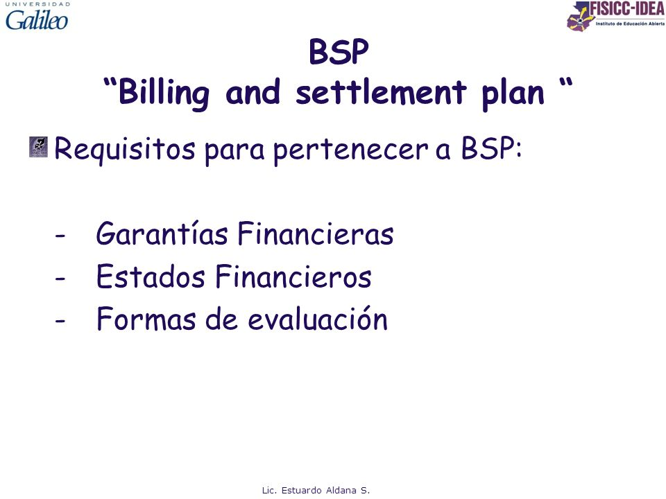 BSP Billing and settlement plan