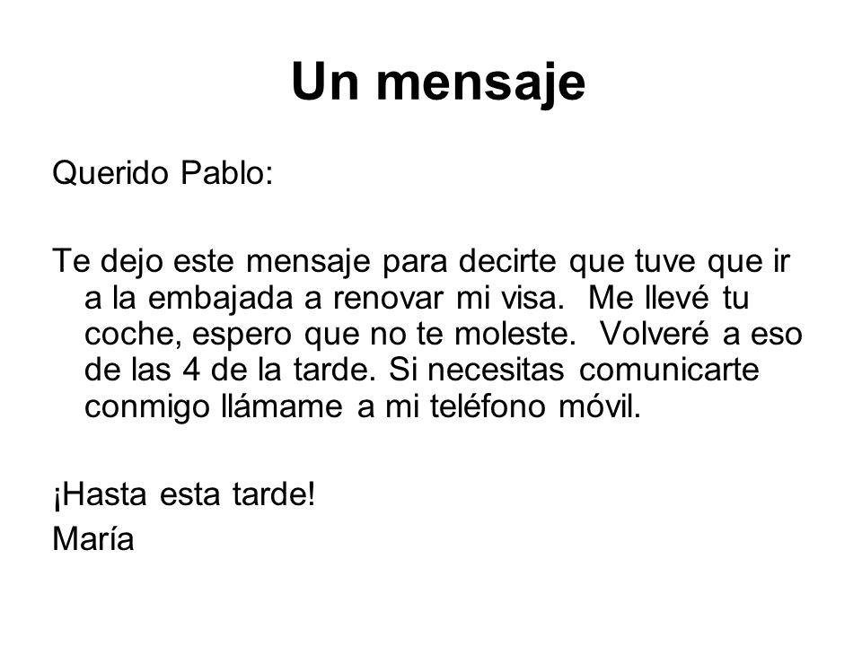 Un mensaje Querido Pablo: