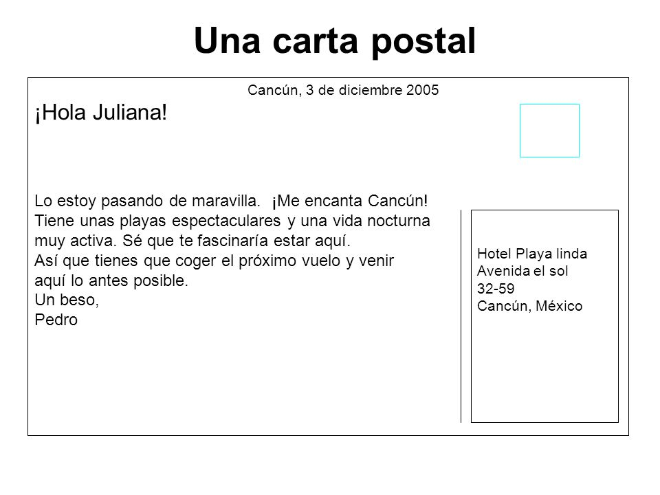 Una carta postal ¡Hola Juliana!