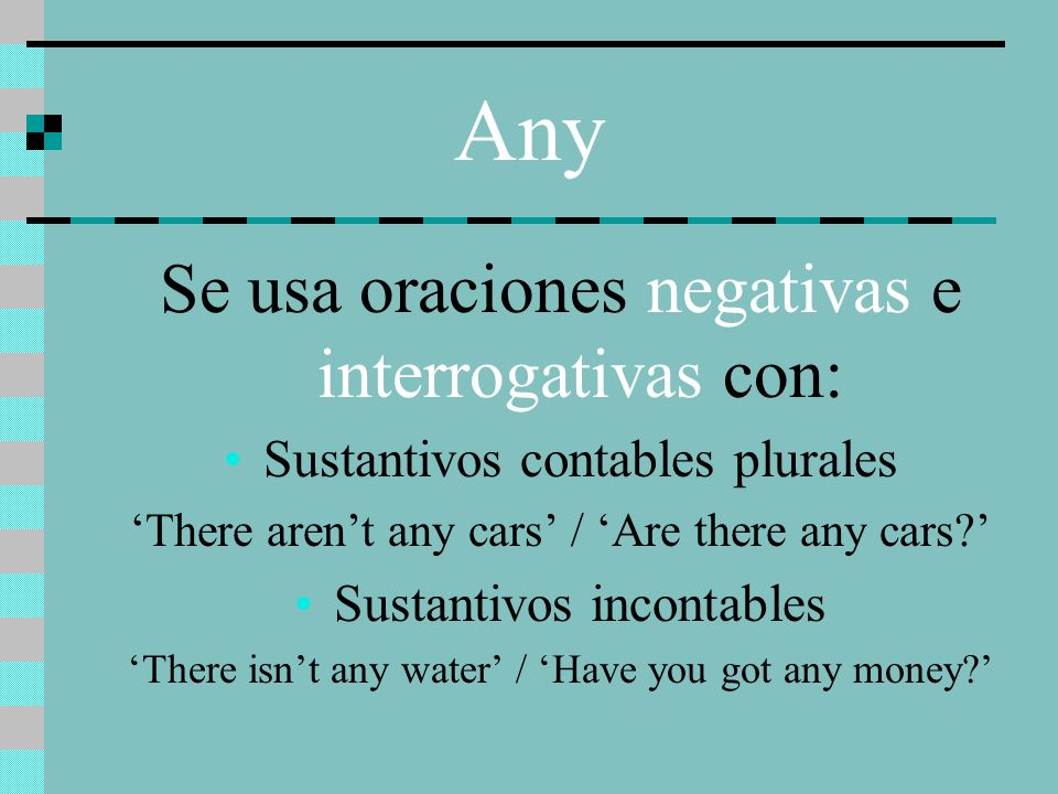 Any Se usa oraciones negativas e interrogativas con: