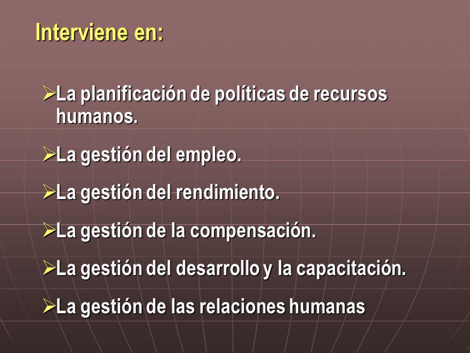 Interviene en: La planificación de políticas de recursos humanos.