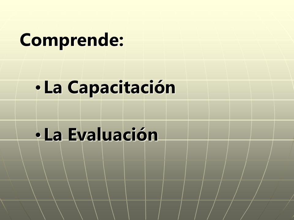 Comprende: La Capacitación La Evaluación