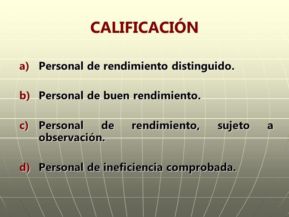 CALIFICACIÓN Personal de rendimiento distinguido.