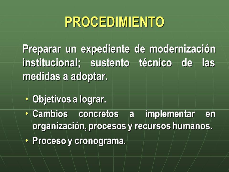 PROCEDIMIENTO Preparar un expediente de modernización institucional; sustento técnico de las medidas a adoptar.