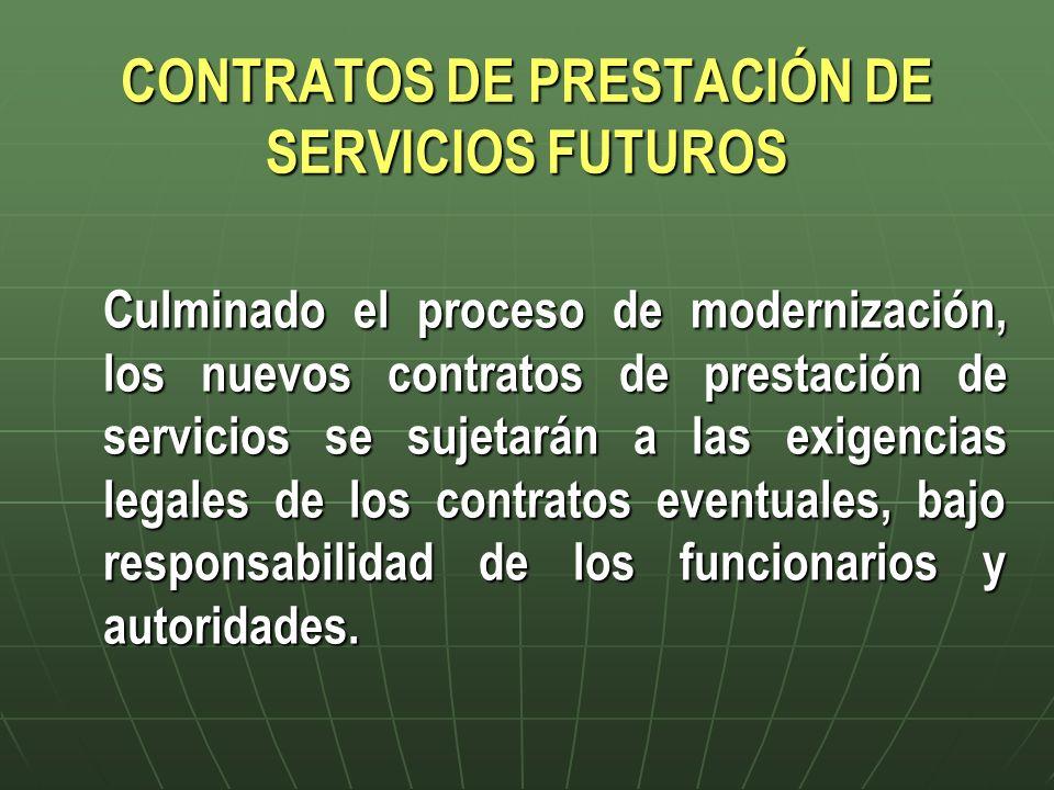 CONTRATOS DE PRESTACIÓN DE SERVICIOS FUTUROS