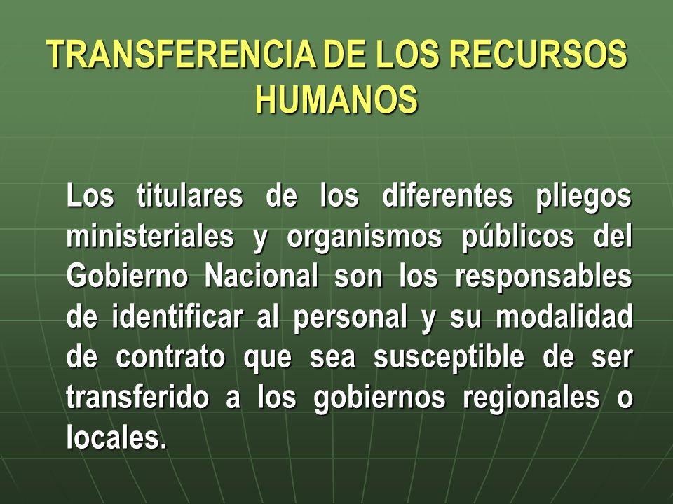 TRANSFERENCIA DE LOS RECURSOS HUMANOS