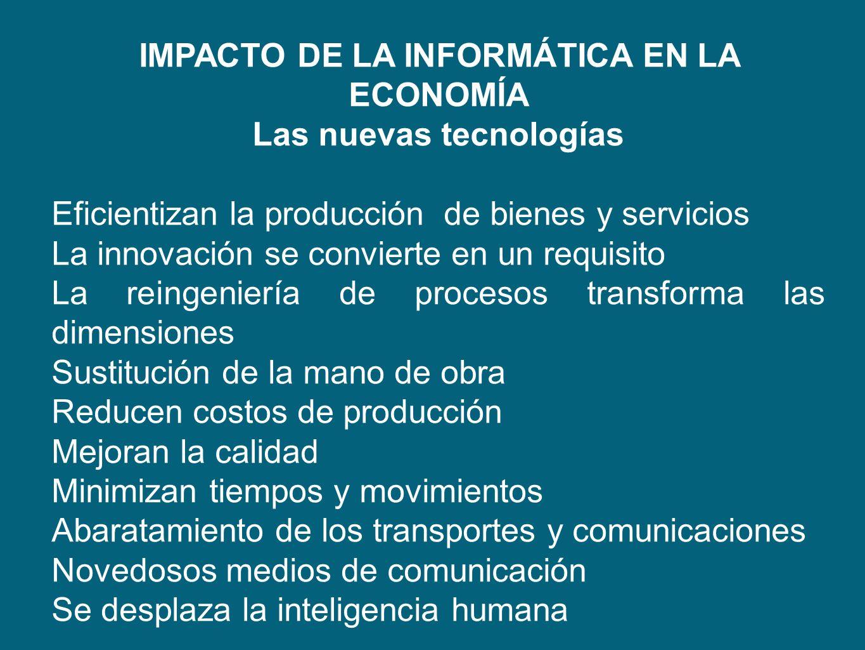 IMPACTO DE LA INFORMÁTICA EN LA ECONOMÍA Las nuevas tecnologías