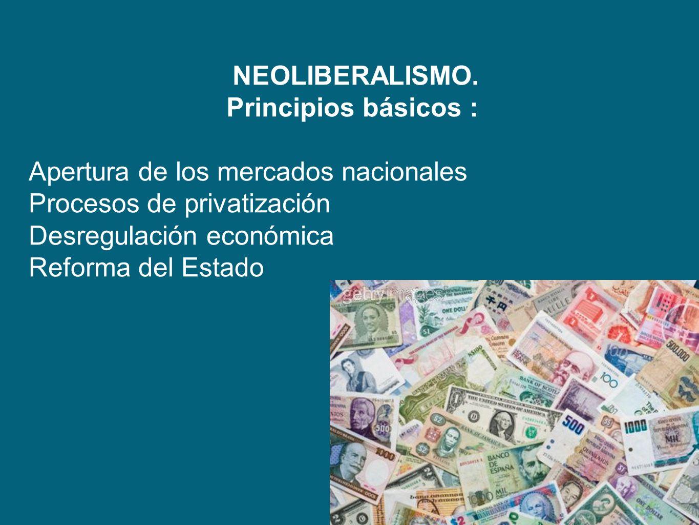 NEOLIBERALISMO. Principios básicos : Apertura de los mercados nacionales. Procesos de privatización.