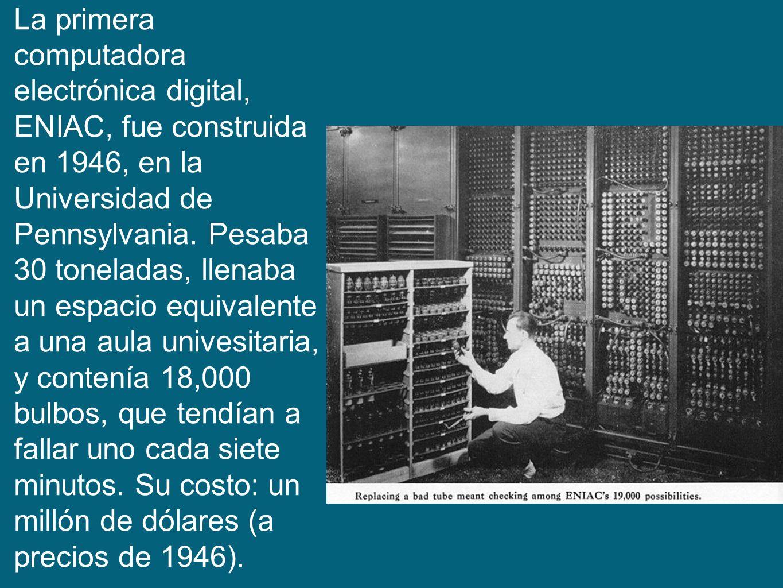 La primera computadora electrónica digital, ENIAC, fue construida en 1946, en la Universidad de Pennsylvania.