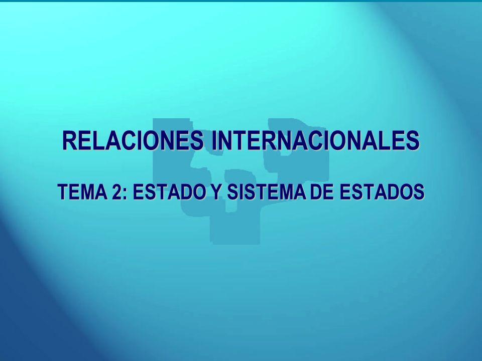 RELACIONES INTERNACIONALES TEMA 2: ESTADO Y SISTEMA DE ESTADOS