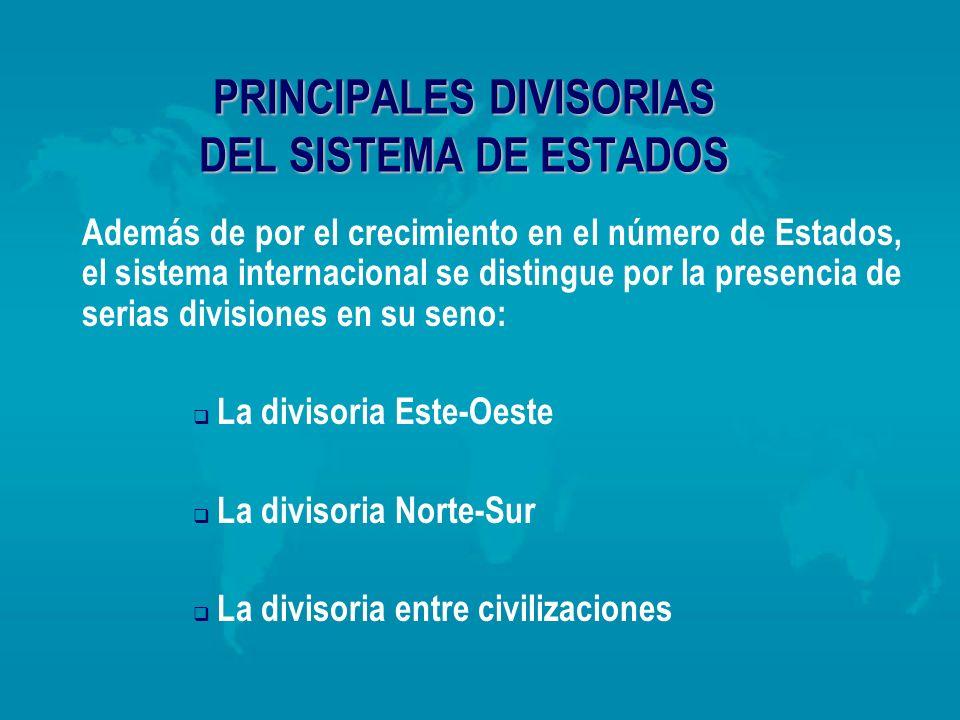 PRINCIPALES DIVISORIAS DEL SISTEMA DE ESTADOS