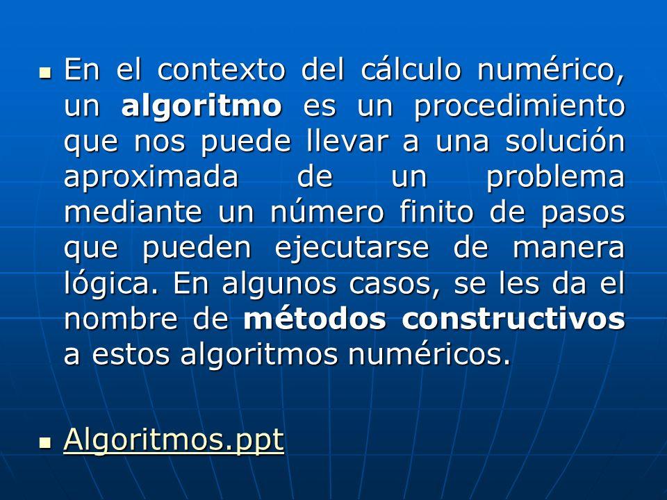 En el contexto del cálculo numérico, un algoritmo es un procedimiento que nos puede llevar a una solución aproximada de un problema mediante un número finito de pasos que pueden ejecutarse de manera lógica. En algunos casos, se les da el nombre de métodos constructivos a estos algoritmos numéricos.
