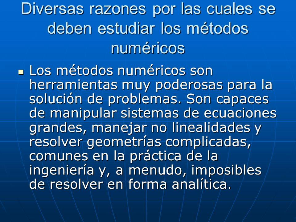 Diversas razones por las cuales se deben estudiar los métodos numéricos