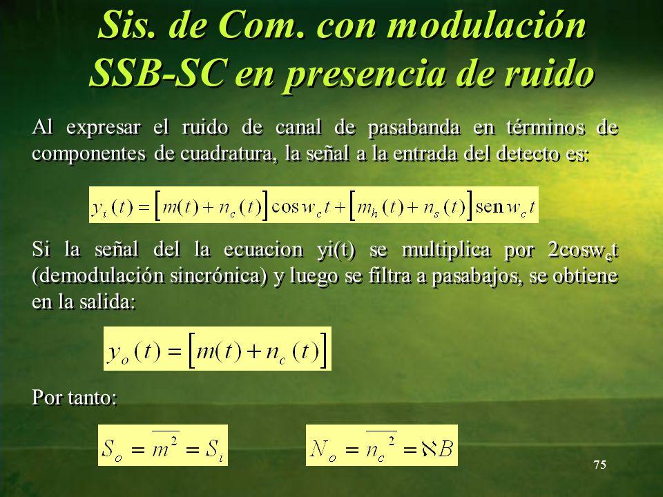 Sis. de Com. con modulación SSB-SC en presencia de ruido