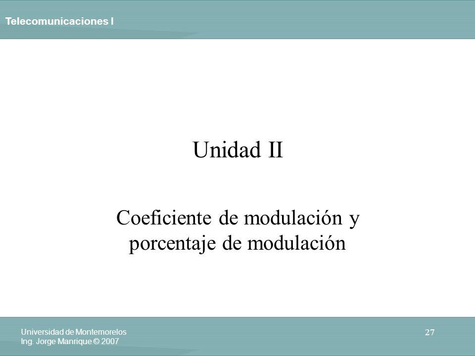 Coeficiente de modulación y porcentaje de modulación