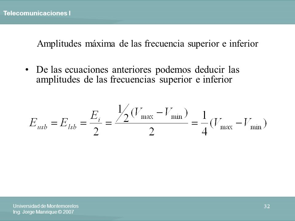 Amplitudes máxima de las frecuencia superior e inferior
